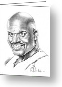Pencil Drawing Drawings Greeting Cards - Shaquille ONeal Greeting Card by Murphy Elliott