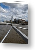 Travel Agent Greeting Cards - Shard from Millennium Bridge Greeting Card by Gary Eason
