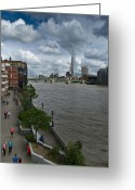 Travel Agent Greeting Cards - Shard London pedestrians Greeting Card by Gary Eason