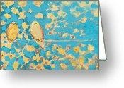 Sparrow Greeting Cards - Sharing a Sunny Perch Greeting Card by Jennifer Lommers