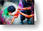 Borobudur Greeting Cards - Sharing Colors Sharing Happiness Greeting Card by Charuhas Images