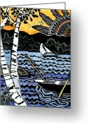 Row Boat Mixed Media Greeting Cards - Sharing the Lake Greeting Card by Jane Croteau