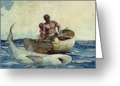 Great Painting Greeting Cards - Shark Fishing Greeting Card by Winslow Homer