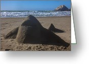 Shadow Shapes Greeting Cards - Shark sand sculpture Greeting Card by Garry Gay