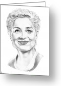 Famous People Drawings Greeting Cards - Sharon Stone Greeting Card by Murphy Elliott