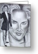 Flyers Drawings Greeting Cards - Sharon Stone Greeting Card by Rick Hill