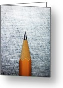 Pencil Greeting Cards - Sharpened Pencil On Stainless Steel. Greeting Card by Ballyscanlon