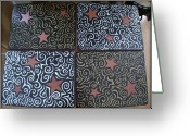 Whimsical Greeting Cards - Sharpie Star Tv Table Set Greeting Card by Mandy Shupp