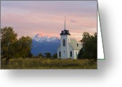 Fall Nature Greeting Cards - Shasta Alpenglow with Historic Church Greeting Card by Loree Johnson