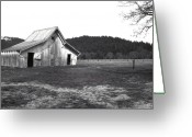 Featured Landscape Art Greeting Cards - Shasta Barn Greeting Card by Kathy Yates