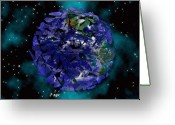 Clouds Mixed Media Greeting Cards - Shattered World Greeting Card by Evelyn Patrick