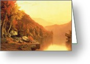 Leaf Painting Greeting Cards - Shawanagunk Mountains Greeting Card by Jervis McEntee