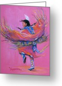 Colorful Pastels Greeting Cards - Shawl Dancer Greeting Card by Tanja Ware