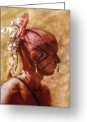 Native Digital Art Greeting Cards - Shawnee Indian Warrior Portrait Greeting Card by Randy Steele