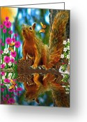Smudgeart Greeting Cards - Shaylene Squirrel Greeting Card by Madeline M Allen