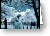 Surreal Gothic Angel Photography Greeting Cards - She Dreams In Blue Greeting Card by Gothicolors With Crows