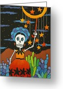 Calaveras Greeting Cards - She Hangs The Stars Greeting Card by Robin Westenhiser