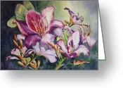 Backlit Painting Greeting Cards - She Love Orchids Greeting Card by Roxanne Tobaison