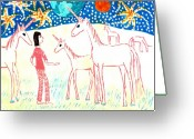 Sue Burgess Ceramics Greeting Cards - She meets the moon unicorns Greeting Card by Sushila Burgess