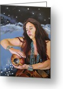 New Age Art Greeting Cards - She Paints with Stars Greeting Card by J W Baker