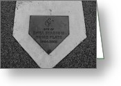 Homeplate Greeting Cards - SHEA STADIUM HOME PLATE in BLACK AND WHITE Greeting Card by Rob Hans