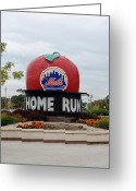 Ball Parks Greeting Cards - Shea Stadium Home Run Apple Greeting Card by Rob Hans