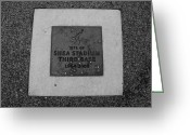 Third Base Greeting Cards - SHEA STADIUM THIRD BASE in BLACK AND WHITE Greeting Card by Rob Hans