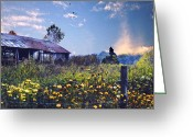 Shed Digital Art Greeting Cards - Shed in Blue Sky Greeting Card by Walt Jackson