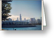 Sky Greeting Cards - Shedd Aquarium and Chicago Skyline Greeting Card by Adam Romanowicz
