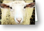Australian Animal Greeting Cards - Sheep Art - Ewe Rang Greeting Card by Sharon Cummings