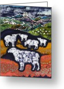 Meadow Tapestries - Textiles Greeting Cards - Sheep at Midnight Greeting Card by Carol  Law Conklin
