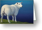 Lamb Greeting Cards - Sheep at the edge Greeting Card by James W Johnson