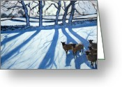 Great Painting Greeting Cards - Sheep in snow Greeting Card by Andrew Macara