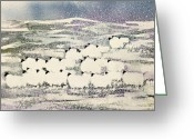 Slush Greeting Cards - Sheep in Winter Greeting Card by Suzi Kennett
