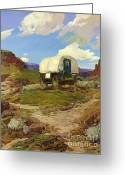 Open Range Greeting Cards - Sheep Wagon Greeting Card by Pg Reproductions