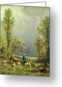 Livestock Painting Greeting Cards - Sheep watching a Storm Greeting Card by Constant-Emile Troyon