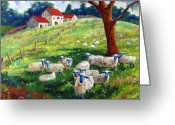 Flowers Direct Greeting Cards - Sheeps in a field Greeting Card by Richard T Pranke