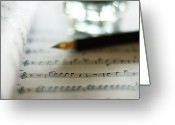 Ink Well Greeting Cards - Sheet Music Greeting Card by Nico De Pasquale Photography