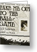 Turn Of The Century Greeting Cards - Sheet Music: Take Me Out Greeting Card by Granger