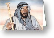 Photorealism Pastels Greeting Cards - Sheik Zayed Greeting Card by Nanybel Salazar