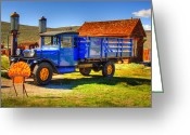 Ghost Town Greeting Cards - Shell Gas Station and Blue Truck in Bodie Ghost Town Greeting Card by Scott McGuire