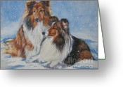 Sheltie Greeting Cards - Sheltie pair Greeting Card by Lee Ann Shepard