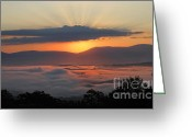 Shenandoah Greeting Cards - Shenandoah Morning Sunrise Fog  Greeting Card by Lara Ellis