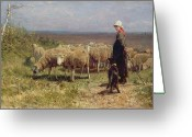 Farm Fields Greeting Cards - Shepherdess Greeting Card by Anton Mauve