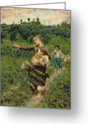 Livestock Painting Greeting Cards - Shepherdess carrying a bunch of grapes Greeting Card by Francesco Paolo Michetti