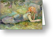 Lambing Greeting Cards - Shepherdess Resting Greeting Card by Berthe Morisot