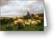 Lambing Greeting Cards - Shepherdess resting with her flock Greeting Card by Edmond Jean-Baptiste Tschaggeny