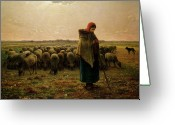 Shepherd Painting Greeting Cards - Shepherdess with her Flock Greeting Card by Jean Francois Millet