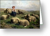 Sheepdog Greeting Cards - Shepherdess with Sheep in a Landscape Greeting Card by C Leemputten and T Gerard