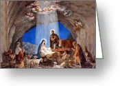 Christmas Greeting Cards - Shepherds Field Nativity Painting Greeting Card by Munir Alawi